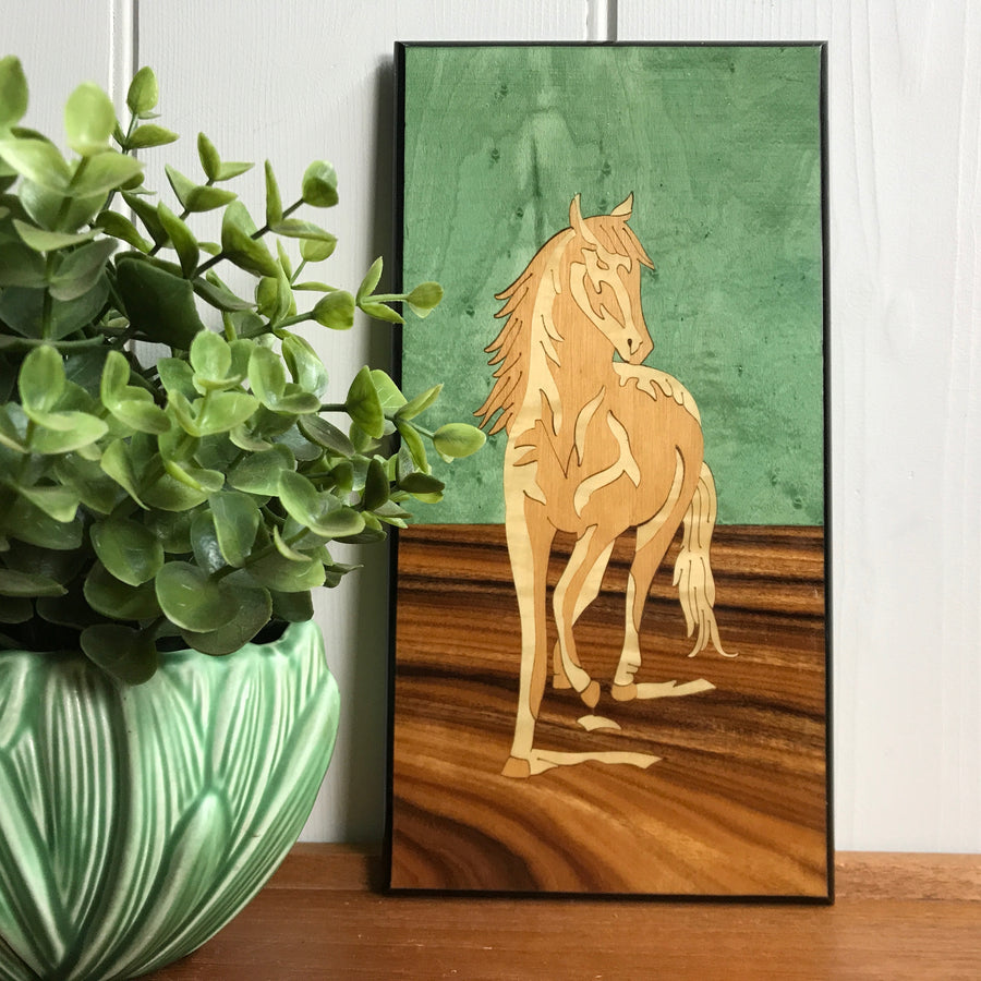 Vintage 'Horse' Inlaid Wall Plaque #Large