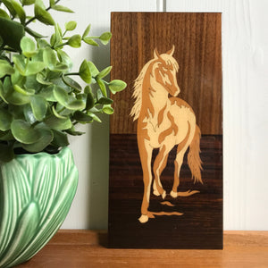 Vintage 'Horse' Inlaid Wall Plaque #Small