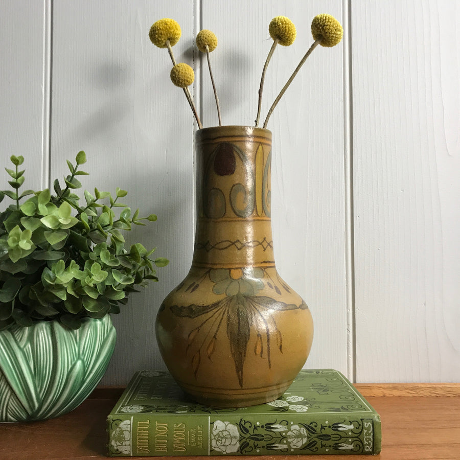 Mid Century Foreign Patterned Ceramic Vase #A11