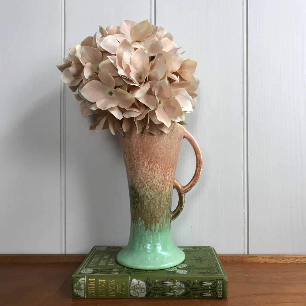 Art Deco Blush Pink/Green Vase #A11