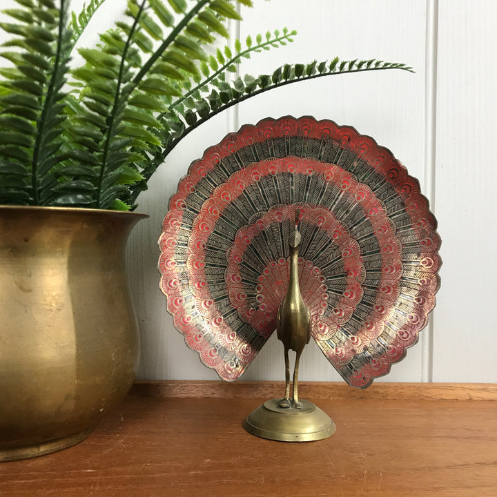 Mid Century Brass Peacock Ornament #A11