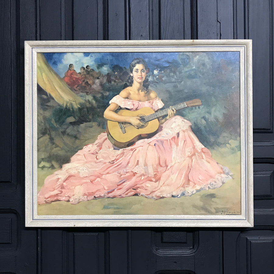 Mid Century 'Flamenco Lady' Framed Print #B1