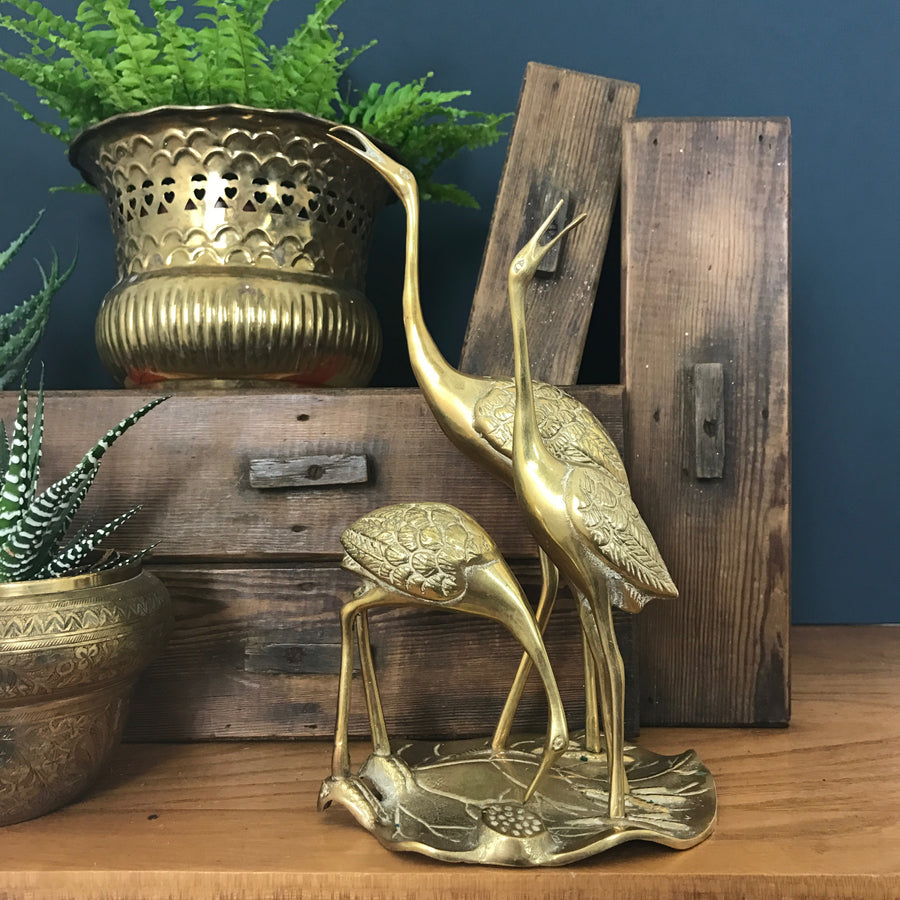Mid Century 'Brass Cranes on a Lily Pad'