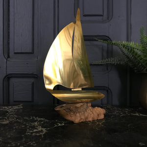 Mid Century Brass Sailing Boat