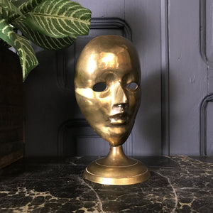Mid Century Brass Mask Ornament