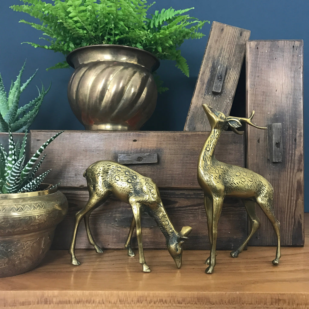 MEDIUM Vintage Brass Pair of Deer