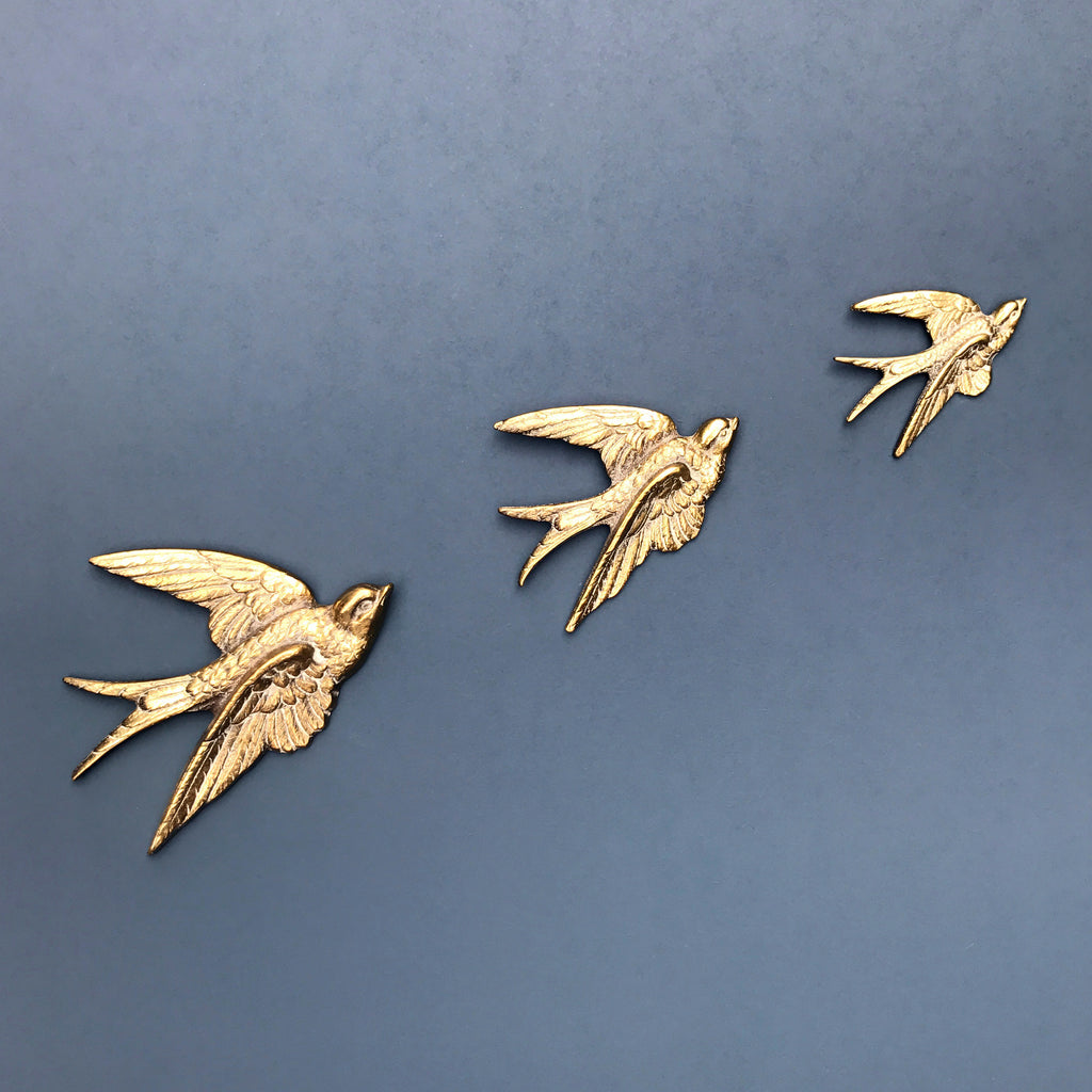 Copy of Trio of Brass Mid Century Flying Swallows