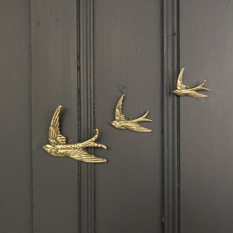 Brass Mid Century Flying Swallows #A4