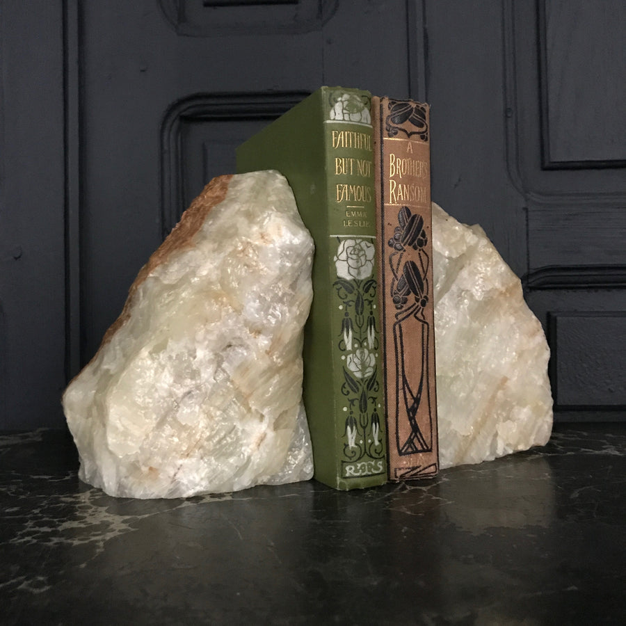 Mid Century Natural Agate Bookends