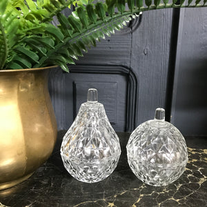 Vintage Glass Apple & Pear Trinket Boxes #A1