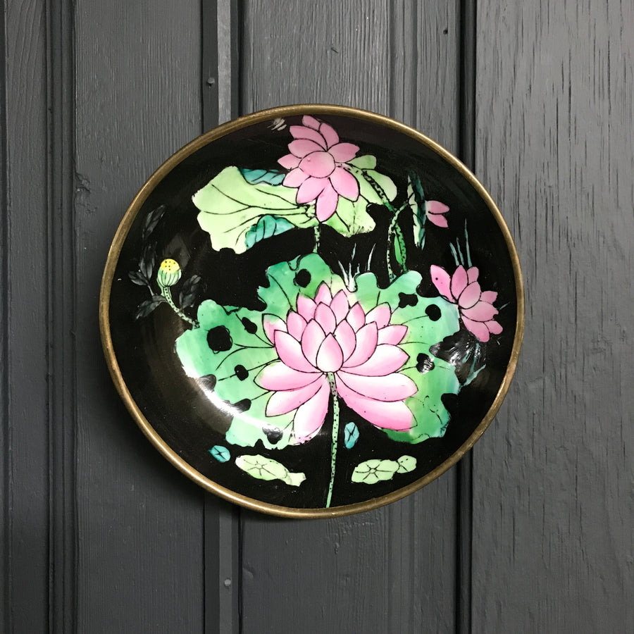 Vintage Brass Enamel Lily Pad Wall Plaque