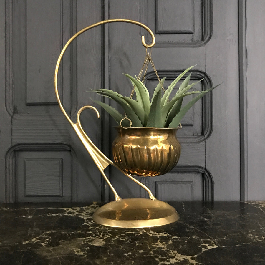 Mid Century Brass Hanging Planter #A1