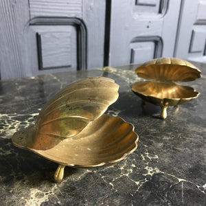 Vintage Brass Clam Shell Ornments/Trinket Boxes