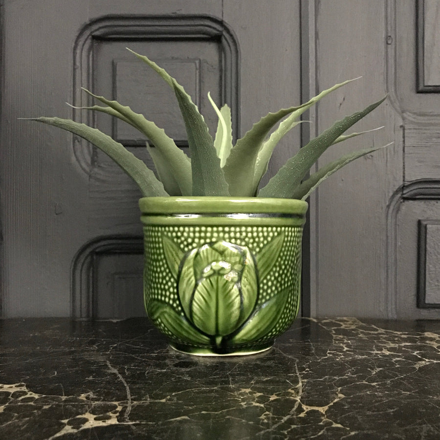 Mid Century Green Plant Pot #A1