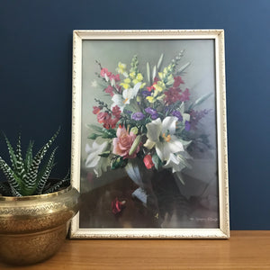 Vintage 1960s Flowers Still Life Picture