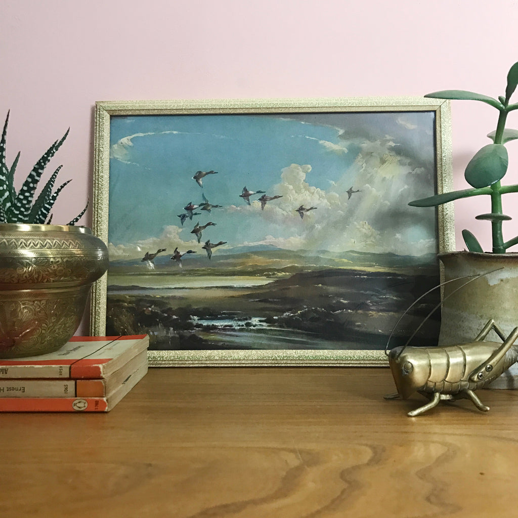 Vintage 1960s Flying Ducks Still Life Picture