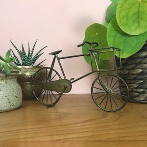 Vintage Brass 'Bicycle with Basket' Ornament