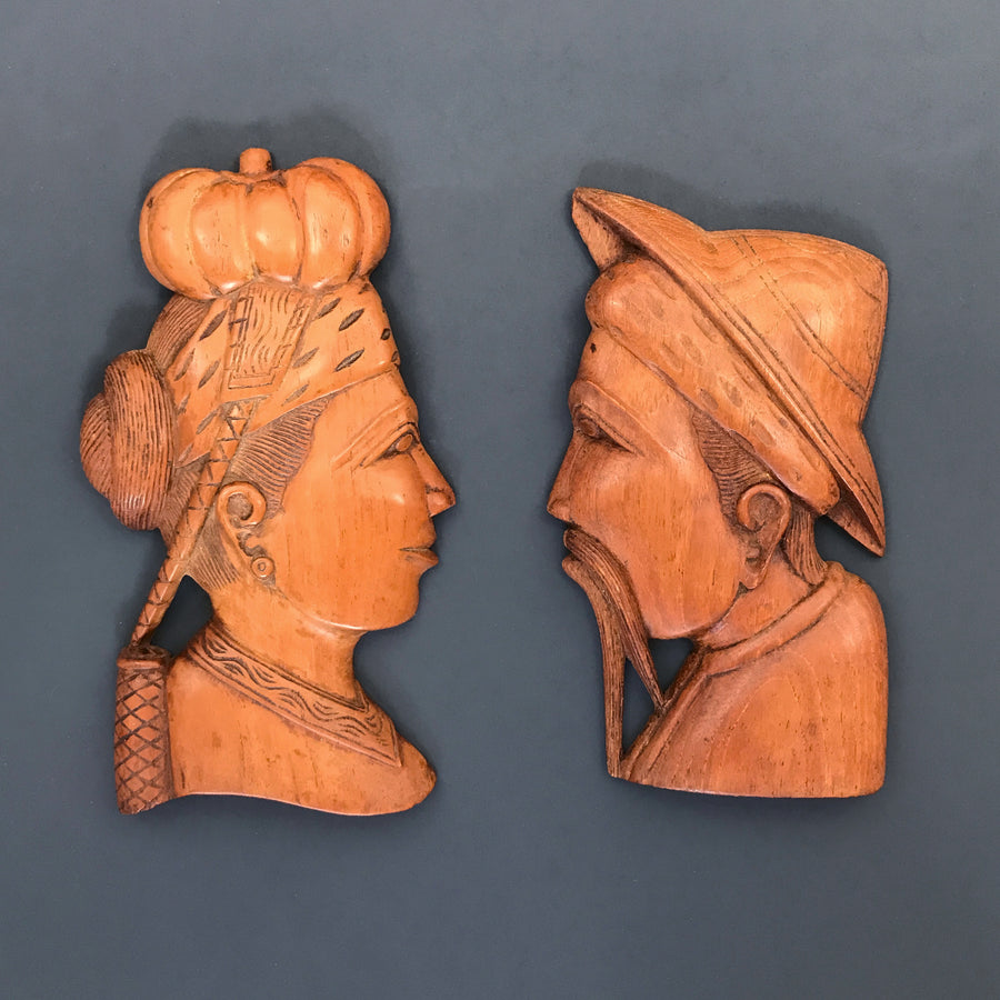 Vintage Tibetian/Chinese Male & Female Wall Plaques
