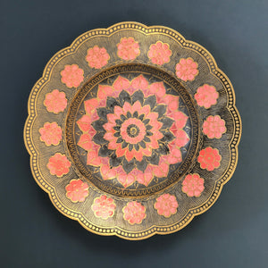 Vintage Brass Flower Bowl/Wall Plaque