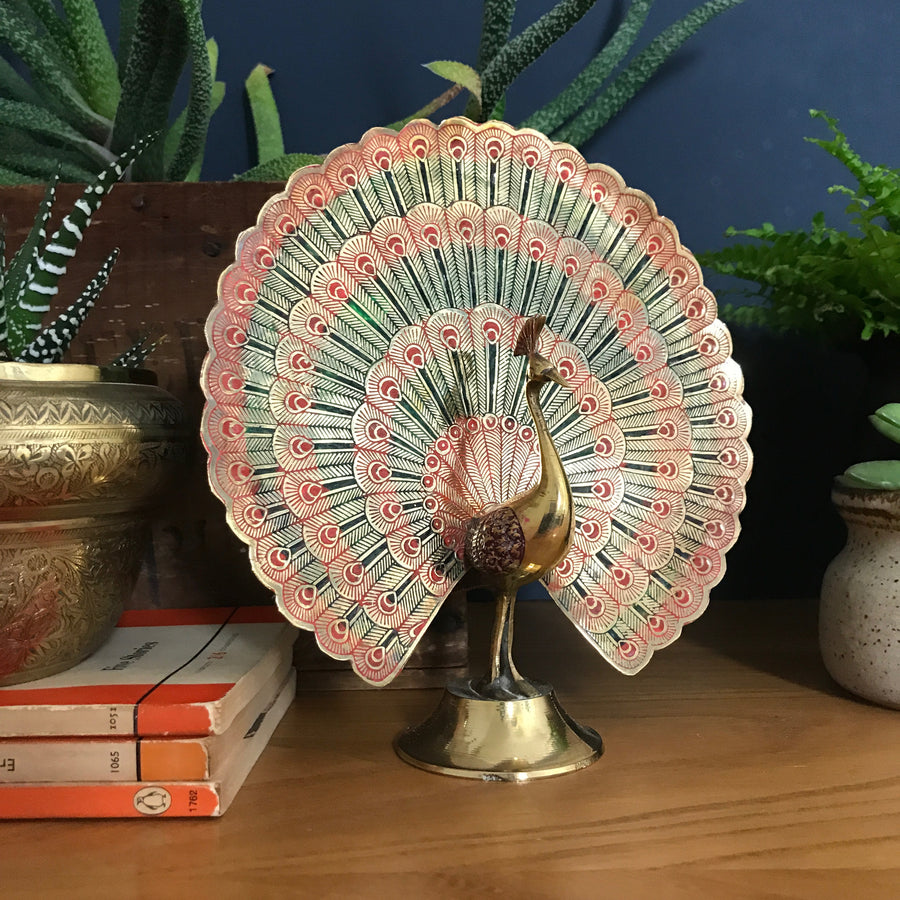 Vintage Brass Peacock Ornament (Medium)