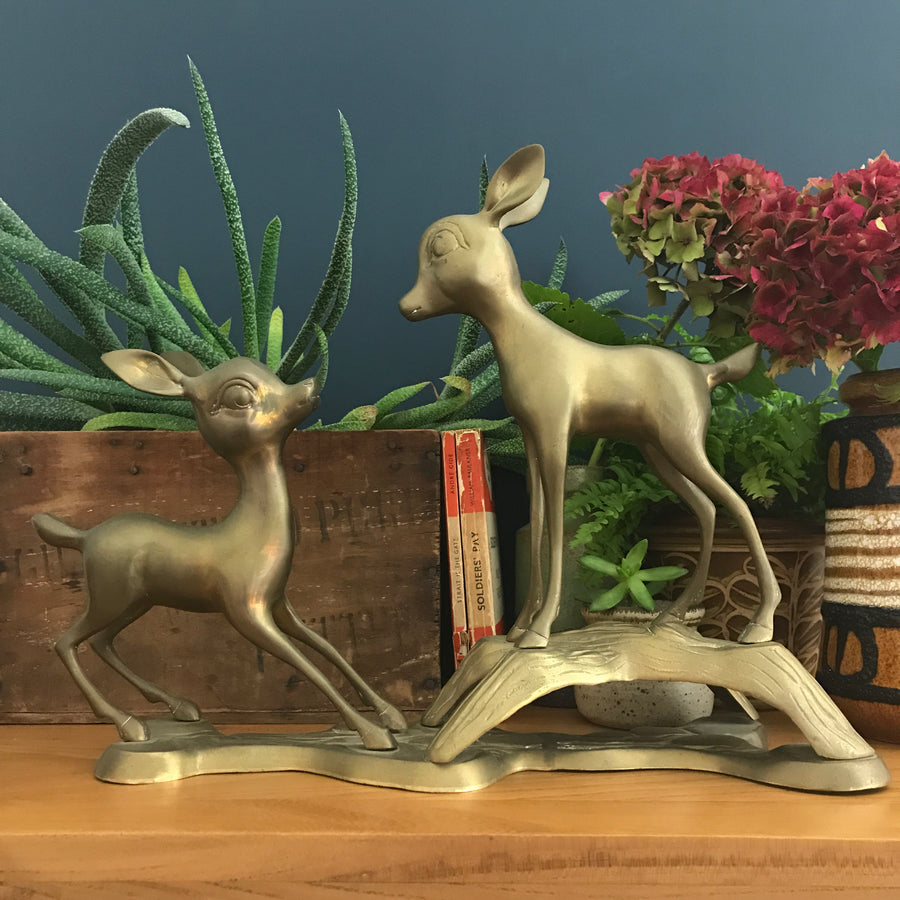 Mid Century Brass Deer Ornament