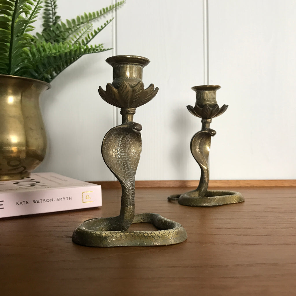 SMALL Mid Century Brass Cobra Candlesticks (pair) #A1