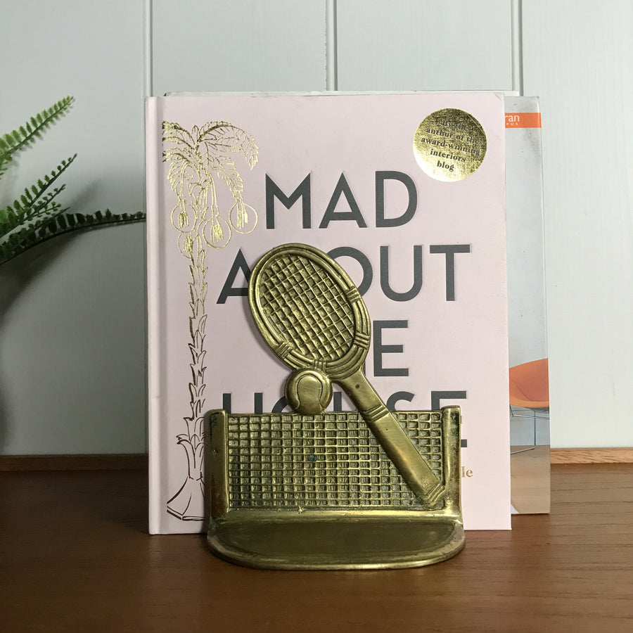 Mid Century Brass Tennis Bookends
