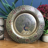 Vintage Brass Peacock Plate/Wall Plaque