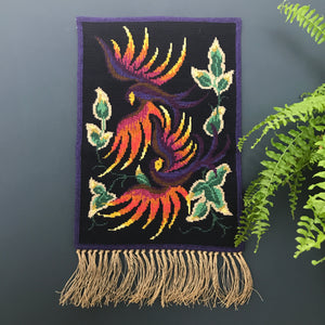 Vintage Danish Embroidered Mid Century Wall Hanging