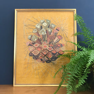 Mid Century Embroidery Framed Wall Art