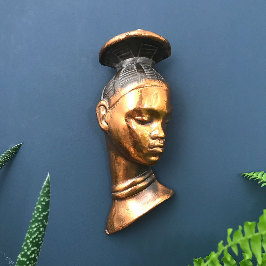 Vintage African Lady Metallic Wall Plaque