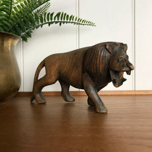 Mid Century Carved Wooden Lion