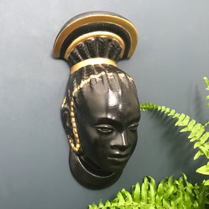 Vintage African Lady Black/Metallic Wall Plaque