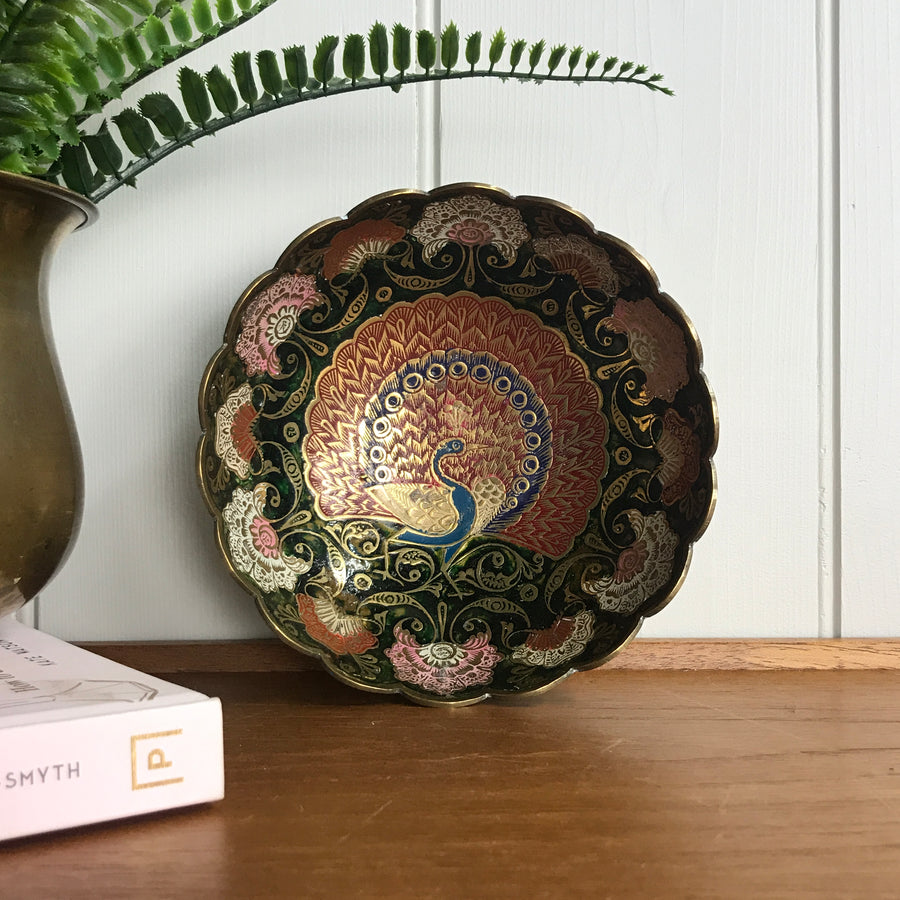 Vintage Brass Peacock Bowl/Dish