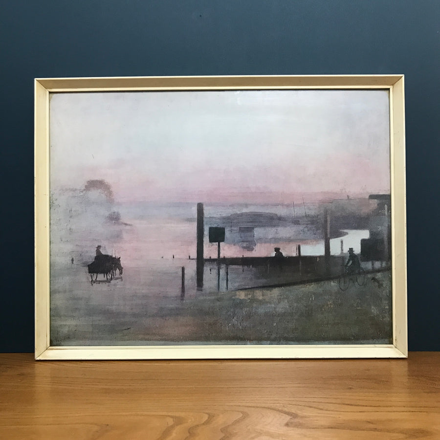 Vintage 1960s Framed Pastel Coast Picture