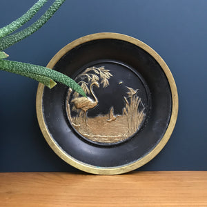 Vintage 'Flamingo' Black & Brass Plate/Wall Plaque