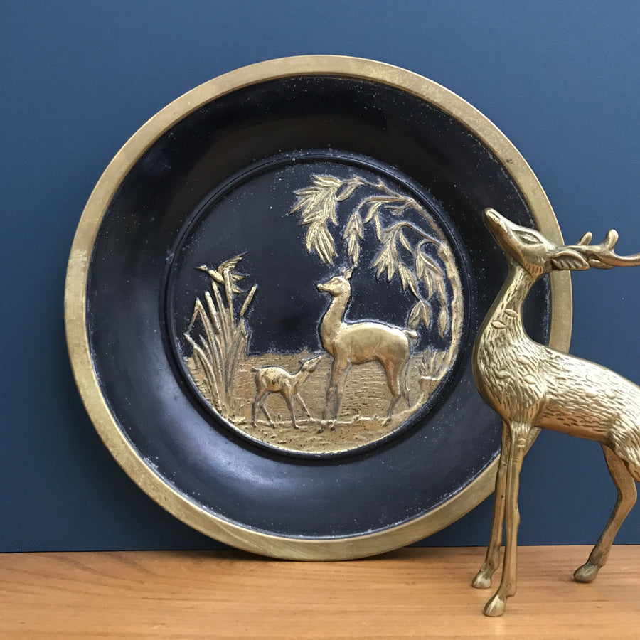 Vintage 'Deer' Black & Brass Plate/Wall Plaque