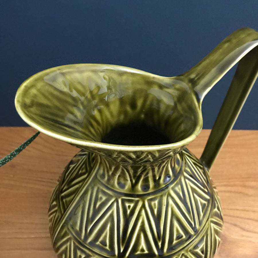 Vintage Celtic Ceramic Green Jug #1015/29R