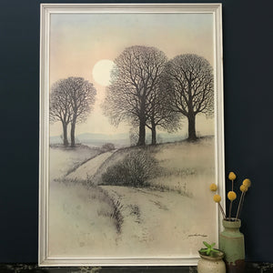 1960s Framed 'Trees' Picture