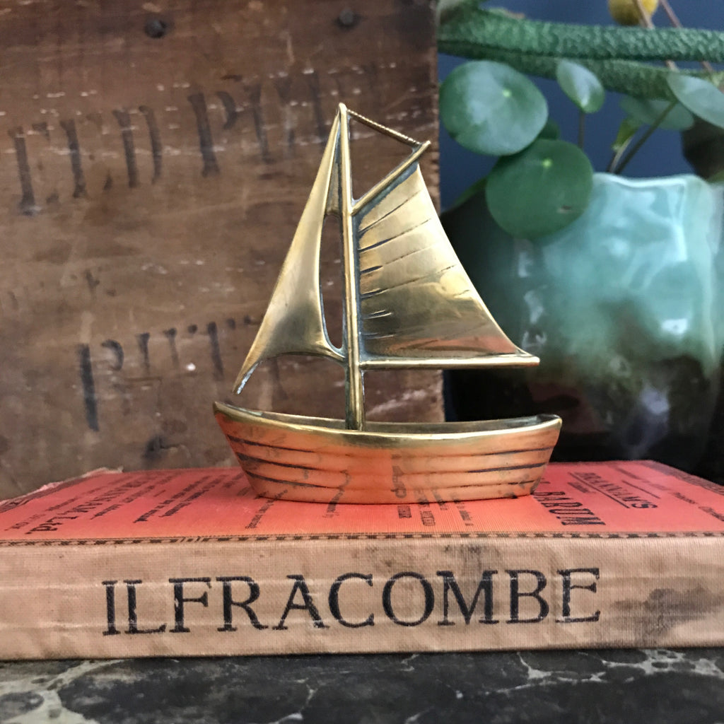 Vintage Mid Century Brass Sailing Boat