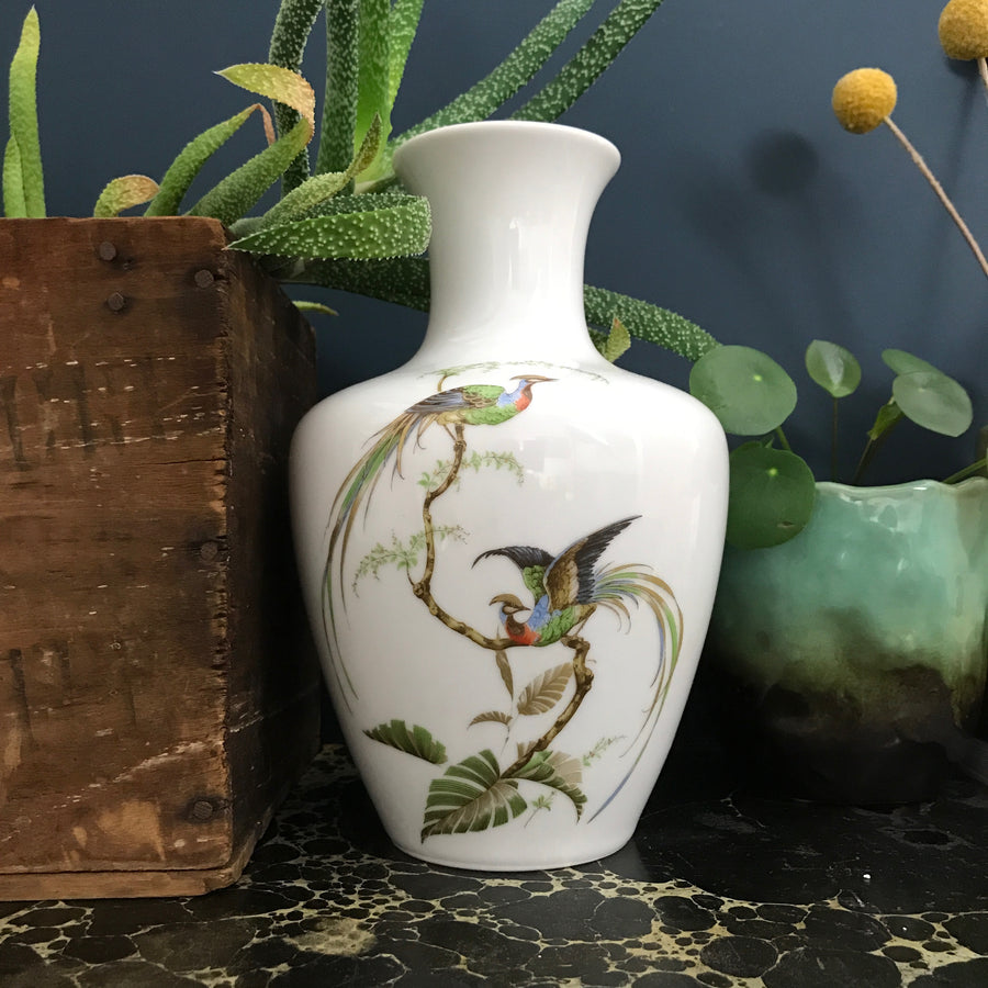 West German Vintage 'Birds of Paradise' Vase