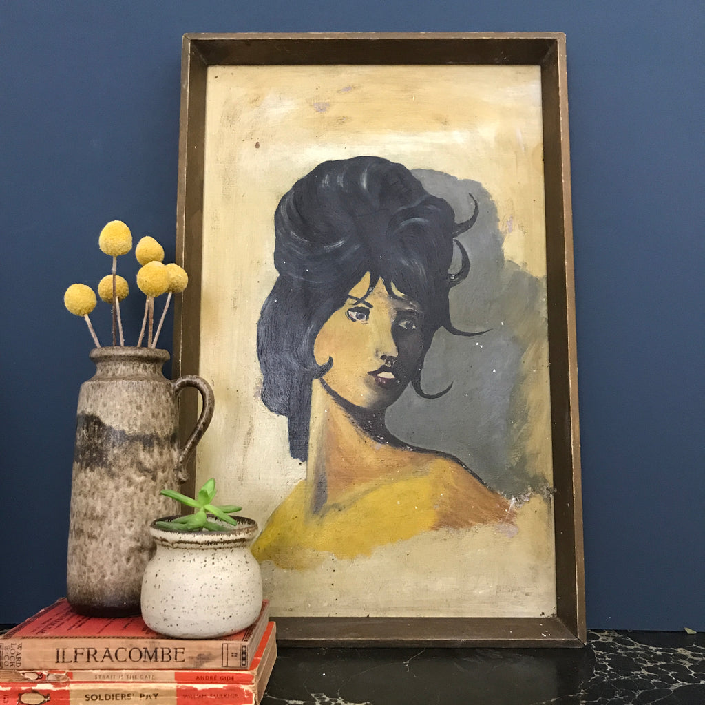 Vintage 1960s Oil Painting of a Lady