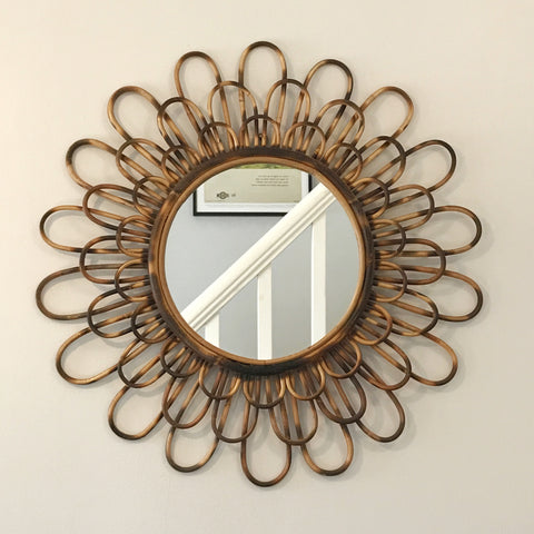 French Vintage Round Wicker/Rattan Mirror