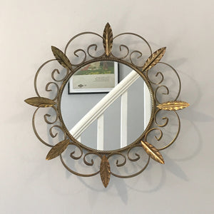 Vintage Gold Leaf Starburst Mirror