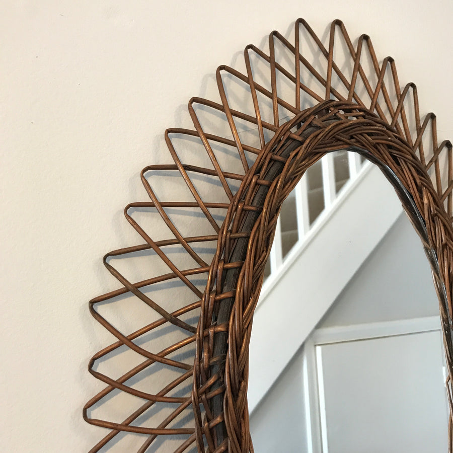Large French Vintage Oval Wicker/Rattan Mirror