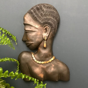 LARGE Vintage African Lady Wall Plaque