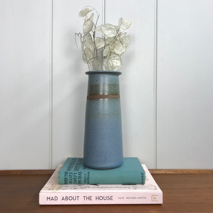 Tall Blue Stoneware Ceramic Vase