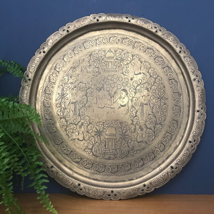 LARGE Vintage Brass Asian Engraved Tray