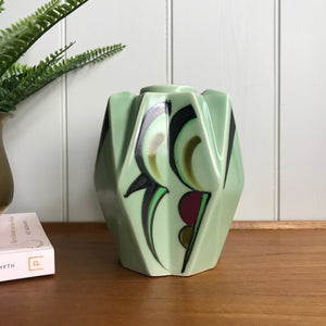 Mid Century Green Ceramic Modernist Vase