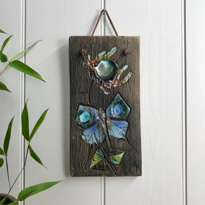 Mid Century Ceramic Butterfly Wall Plaque #2